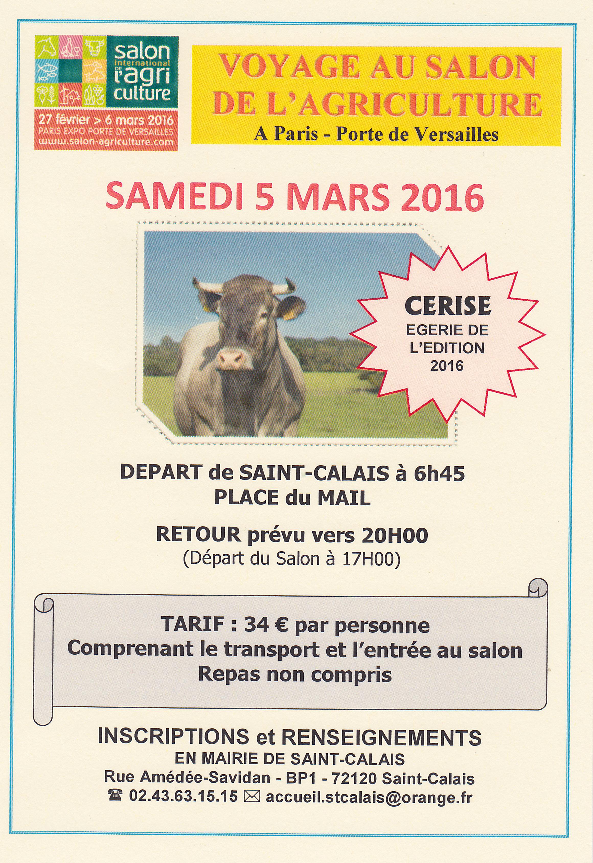 Voyage au salon de l agriculture saint calais for Salon de l agriculture
