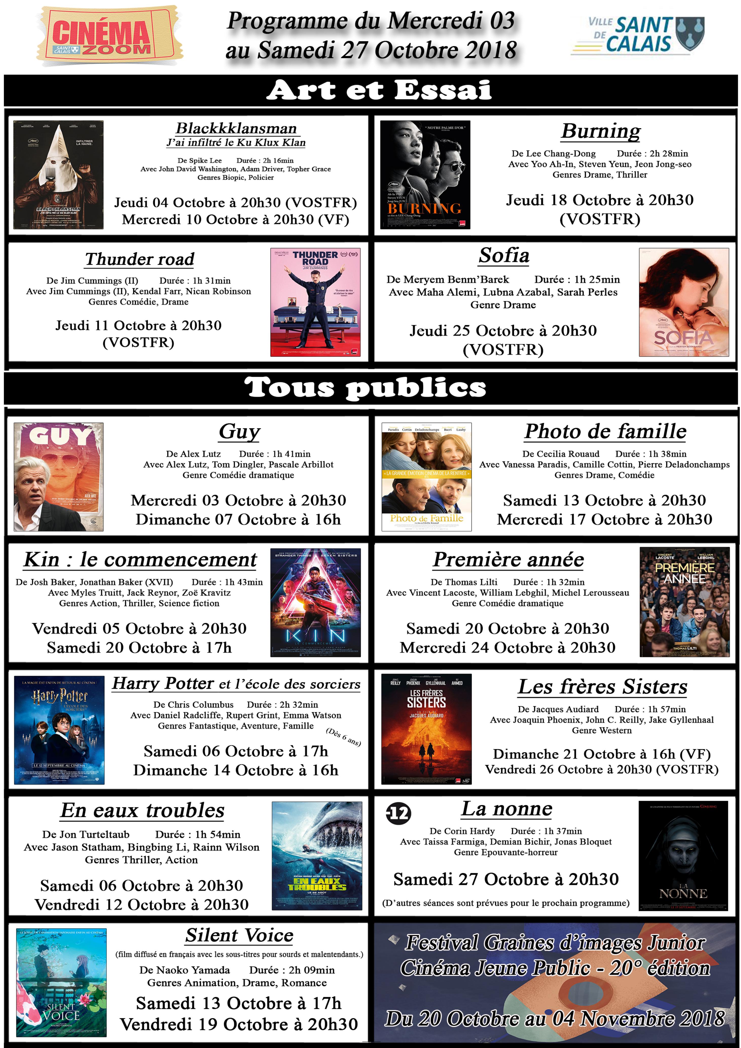 Cinéma Zoom - Affiche Octobre 2018