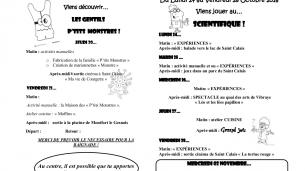 Centre de Loisirs – Programme des vacances de la Toussaint