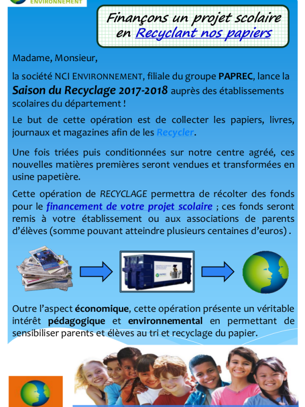 Courrier Recycler vos papiers 2017 2018