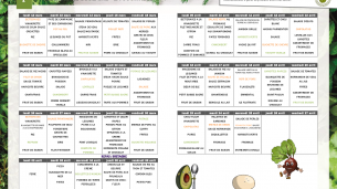 Menu restauration scolaire