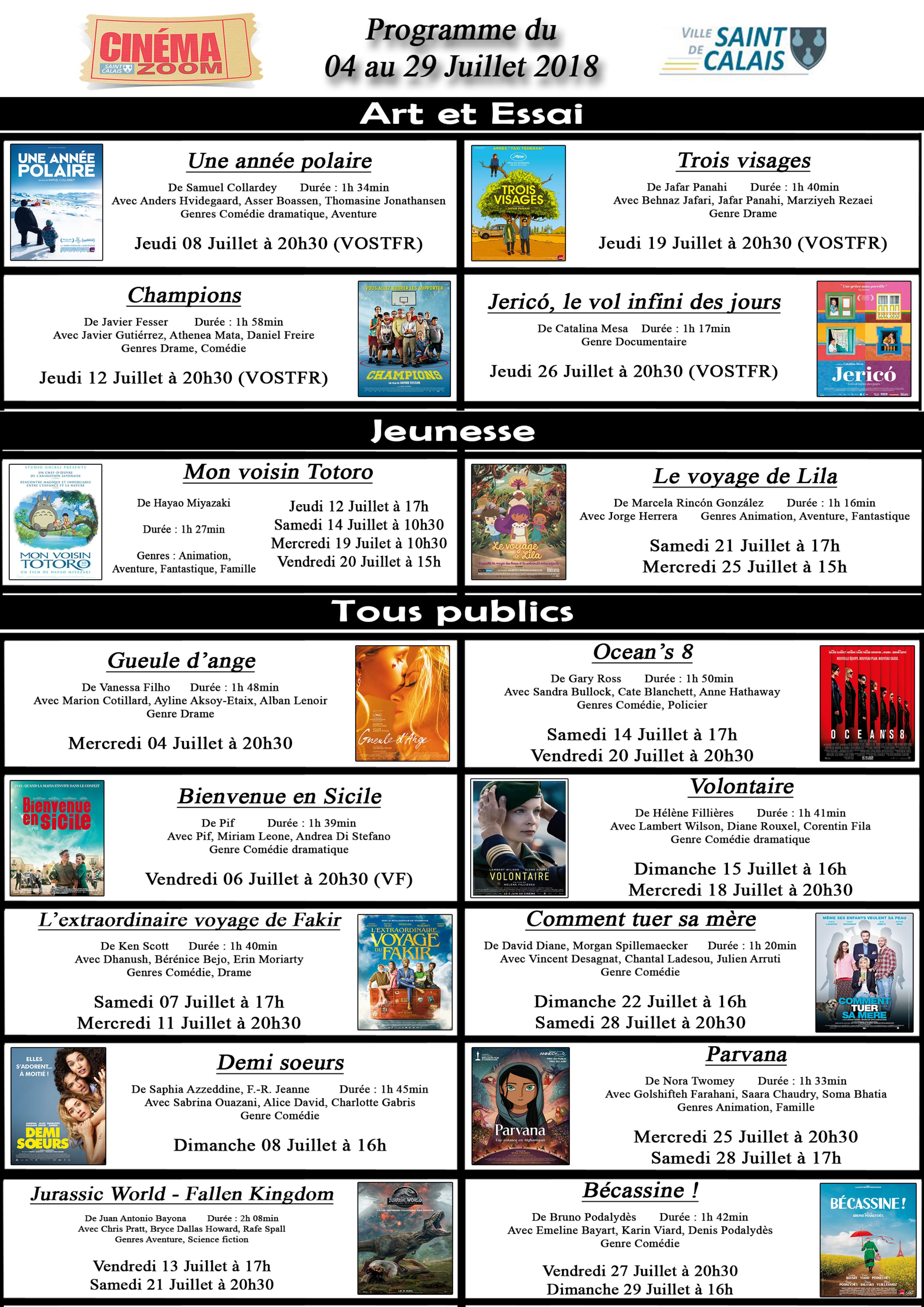 Cinéma Zoom - Affichage Juillet 2018