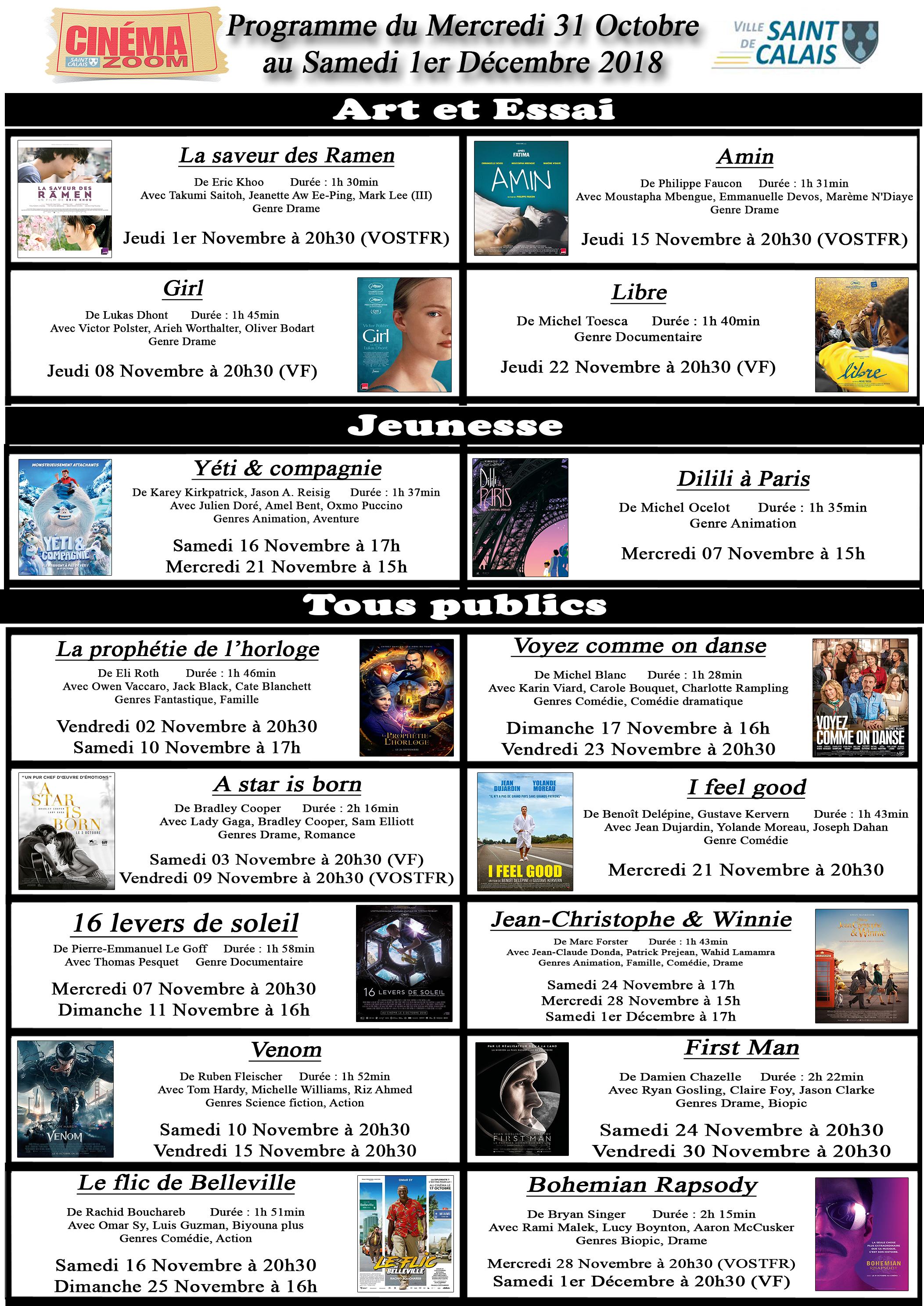 Programme affichage novembre 2018