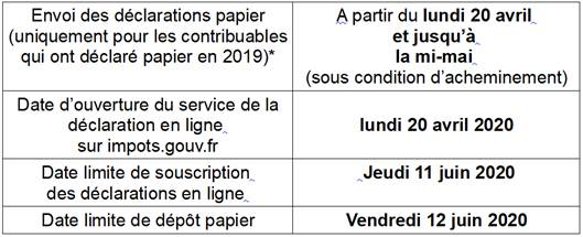 image impot calendrier 2020