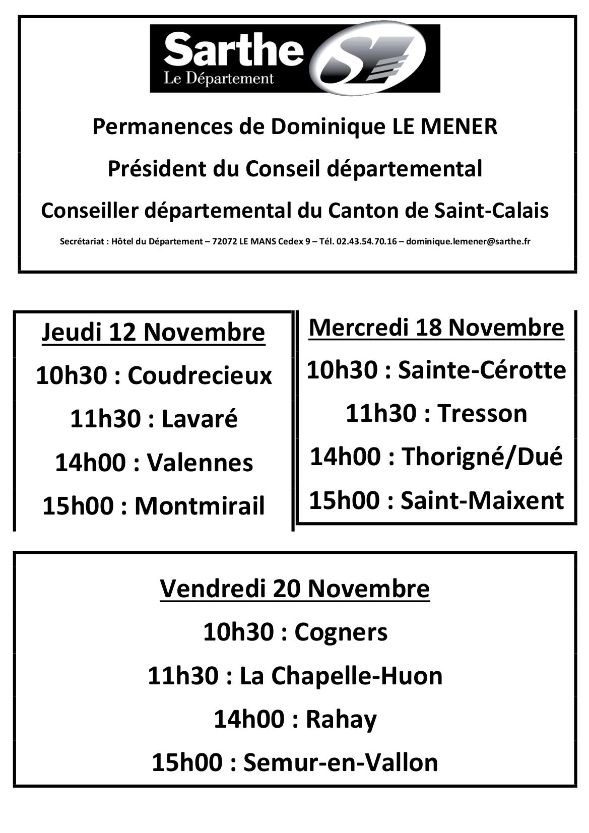 Affiche Permanences Novembre 2020