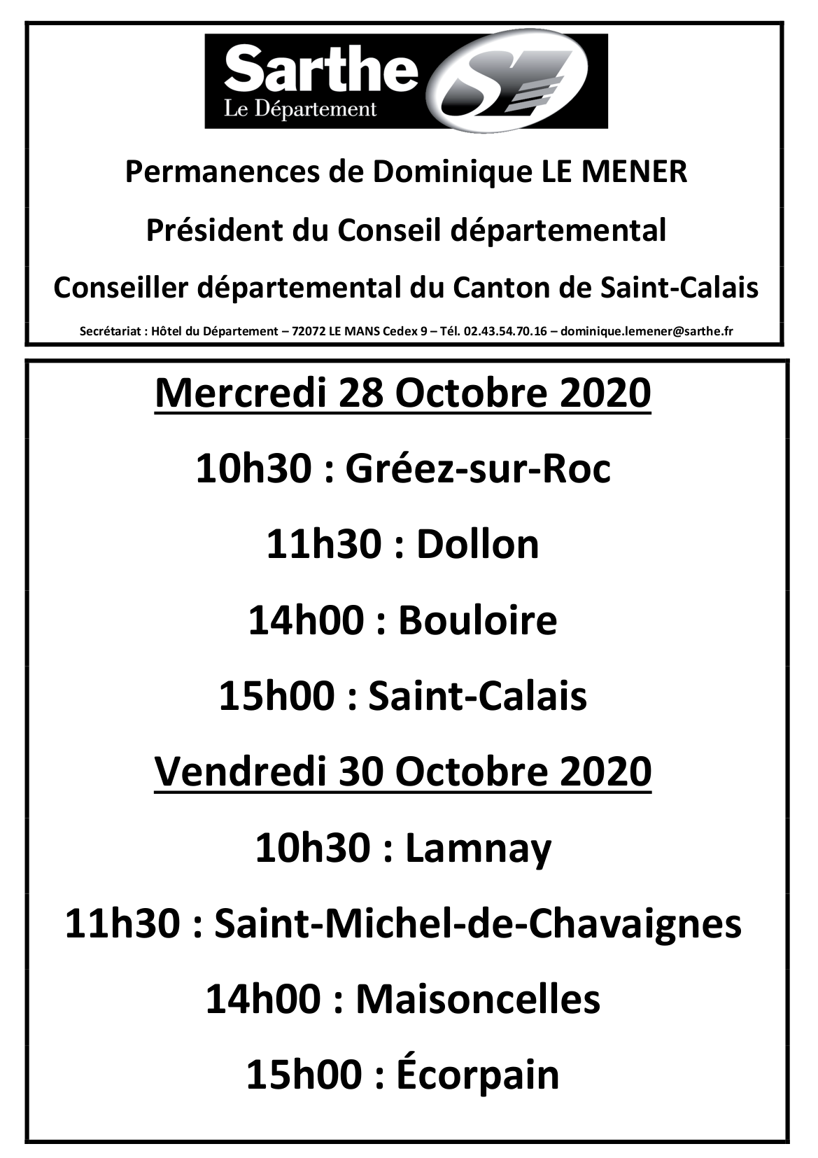 Affiche Permanences Octobre 2020 Dominique LE MENER