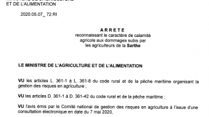 Arrêté de reconnaissance calamités agricoles gel sur pommiers à cidre et à jus de mai 2019